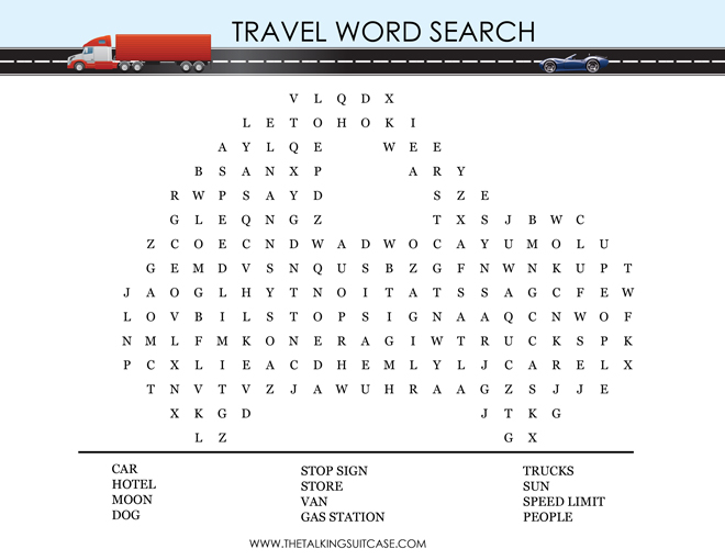 word search kids can find simple travel words with this word search game its even shaped like car for more fun print the pdf version here