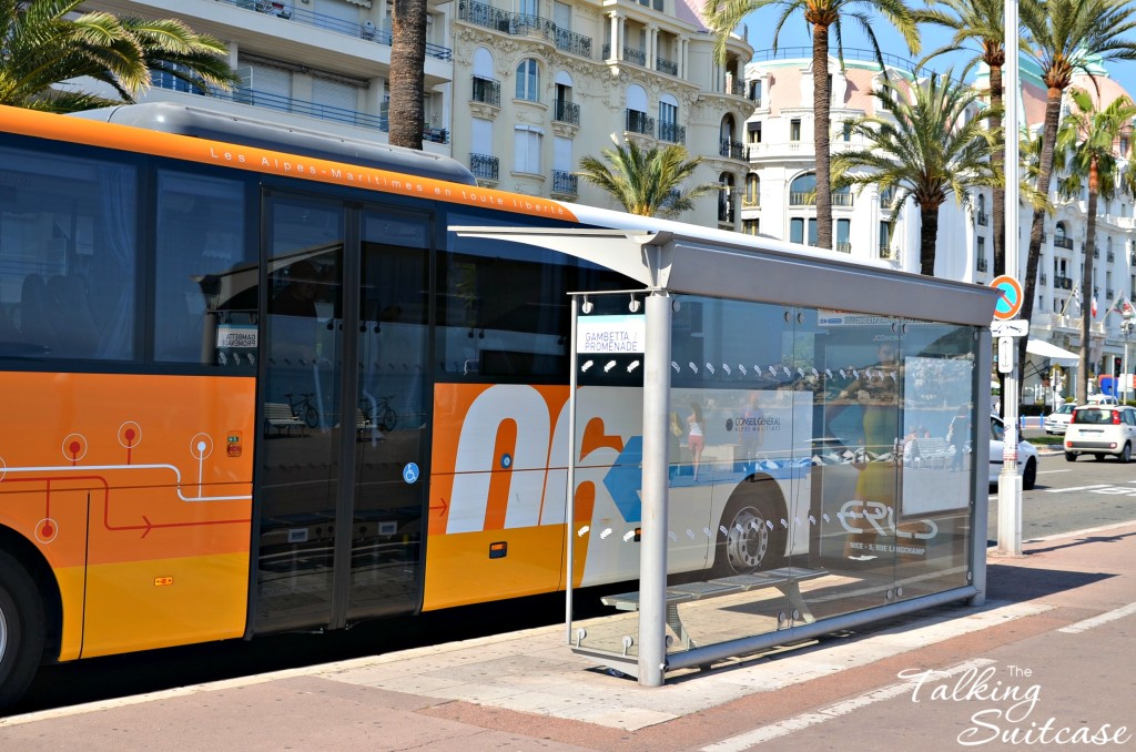 Bus at stop in Nice France