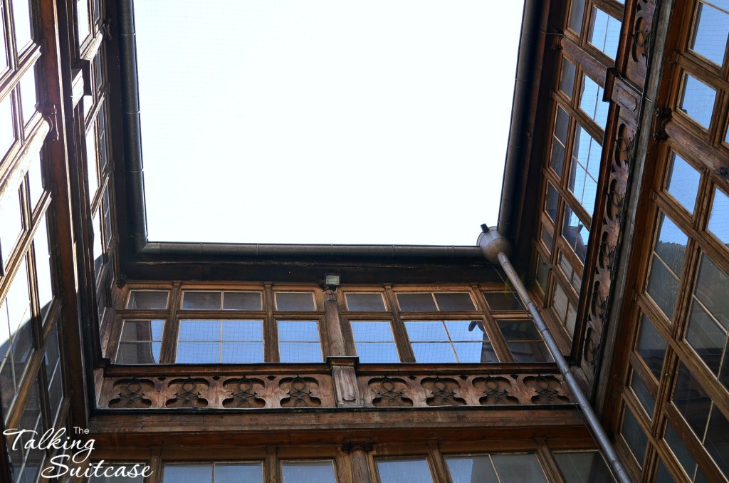 Looking up from the inner courtyard of the old schoolhouse in Innsbruck