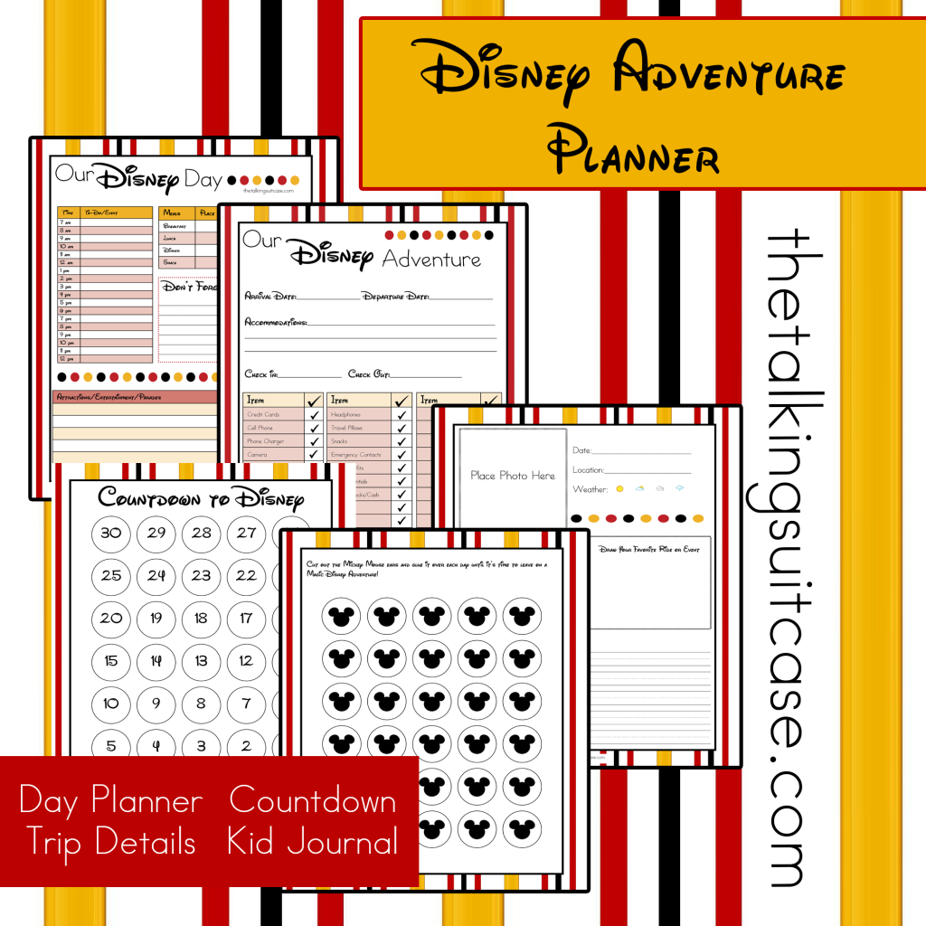 printable Disney vacation planner . The planner includes a day at